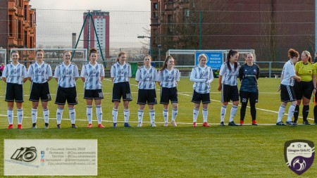 Glasgow Girls Fc line up ahead of Kickoff in the opening game of the Scottish Women's Premier League 2 Season Glasgow Girls FC vs Partick Thistle WFC at Petershill Park, Glasgow.