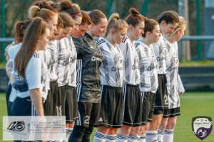Glasgow Girls Pay their respects to fellow SWFL Side Glasgow City ahead of their from the opening game of the Scottish Women's Premier League 2 Season Glasgow Girls FC vs Partick Thistle WFC at Petershill Park, Glasgow.