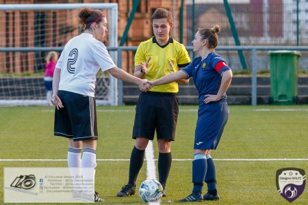 Glasgow Girls Skipper Georgie McTear shakes hands with Partick Thistle Captain Stephanie Cherry Mallon ahead of the opening game of the Scottish Women's Premier League 2 Season Glasgow Girls FC vs Partick Thistle WFC at Petershill Park, Glasgow.