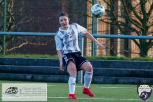 Eleanor Smith goes for goal during the opening game of the Scottish Women's Premier League 2 Season Glasgow Girls FC vs Partick Thistle WFC at Petershill Park, Glasgow.