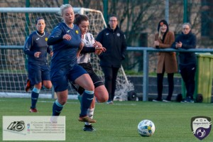 Kirsty MacDonald putting pressure on the Partick Thistle back line during opening game of the Scottish Women's Premier League 2 Season Glasgow Girls FC vs Partick Thistle WFC at Petershill Park, Glasgow.