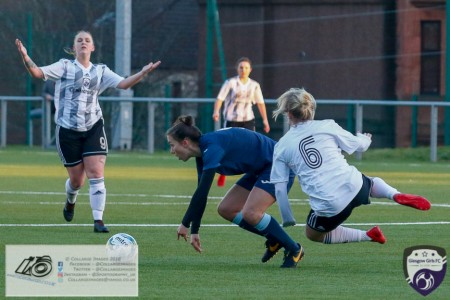 Leigh Ferrol takes a to the air following the challenge from Taylor McGlashan during the opening game of the Scottish Women's Premier League 2 Season Glasgow Girls FC vs Partick Thistle WFC at Petershill Park, Glasgow.