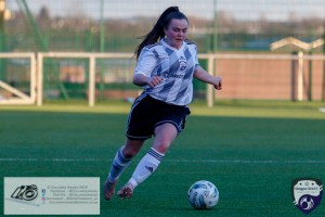 Rachael Armit in action during the opening game of the Scottish Women's Premier League 2 Season Glasgow Girls FC vs Partick Thistle WFC at Petershill Park, Glasgow.
