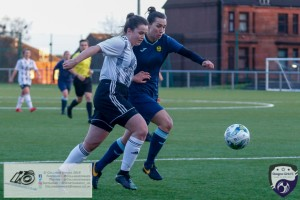 Kirsty MacDonald looks to get the ball down the wing during the opening game of the Scottish Women's Premier League 2 Season Glasgow Girls FC vs Partick Thistle WFC at Petershill Park, Glasgow.