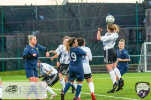Shannon Ashley Mulligan manages to get on the end of a cross late in the 2nd half during the opening game of the Scottish Women's Premier League 2 Season Glasgow Girls FC vs Partick Thistle WFC at Petershill Park, Glasgow.