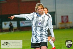 Leigh Ferrol giving directions, proudly wearing the clubs new kit sponsored by Direct Soccer during the opening game of the Scottish Women's Premier League 2 Season Glasgow Girls FC vs Partick Thistle WFC at Petershill Park, Glasgow.
