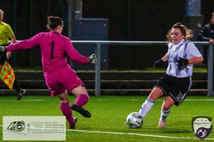 Rachael Armit only has Partick Thistle keeper Nicolle Andrews to beat to scor the opener during the opening game of the Scottish Women's Premier League 2 Season Glasgow Girls FC vs Partick Thistle WFC at Petershill Park, Glasgow.