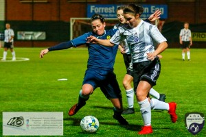 Eleanor Smith in action during the opening game of the Scottish Women's Premier League 2 Season Glasgow Girls FC vs Partick Thistle WFC at Petershill Park, Glasgow.