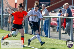 Glasgow Girls Chloe Docherty gets forced off the ball during the Scottish Women's Premier League 2 fixture, Glasgow Girls FC Vs Dundee United FC at Petershill Park in Glasgow, Sunday 21st April 2019.