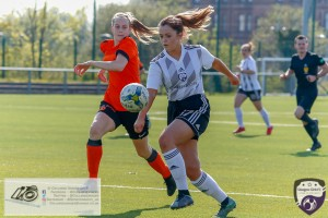Glasgow Girls Kirsty MacDonald makes early inroads into the Dundee United Defense during the Scottish Women's Premier League 2 fixture, Glasgow Girls FC Vs Dundee United FC at Petershill Park in Glasgow, Sunday 21st April 2019.