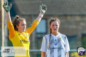 Dundee United Keeper Ashley-Jay Meach & Lucy McEwan as they await the impending corner during the Scottish Women's Premier League 2 fixture, Glasgow Girls FC Vs Dundee United FC at Petershill Park in Glasgow, Sunday 21st April 2019.