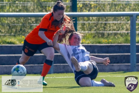 Glasgow Girls Rachael Armitt goes to ground to win the ball during the Scottish Women's Premier League 2 fixture, Glasgow Girls FC Vs Dundee United FC at Petershill Park in Glasgow, Sunday 21st April 2019.