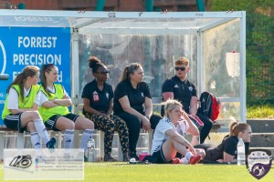 Who said its no fun being in the bench? Glasgow Girls Substitutes and coaching staff during the Scottish Women's Premier League 2 fixture, Glasgow Girls FC Vs Dundee United FC at Petershill Park in Glasgow, Sunday 21st April 2019.