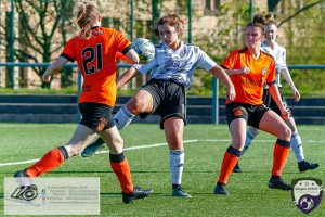 Kirsty MacDonald gets the ball under control & strikes on goal during the Scottish Women's Premier League 2 fixture, Glasgow Girls FC Vs Dundee United FC at Petershill Park in Glasgow, Sunday 21st April 2019.