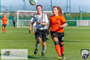 Lucy McEwan & Philippa McCallum only have eyes for the ball during the Scottish Women's Premier League 2 fixture, Glasgow Girls FC Vs Dundee United FC at Petershill Park in Glasgow, Sunday 21st April 2019.