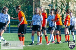 Adopting the 'love train' approach, tams line up awaiting a Glasgow Girls Free kick during the Scottish Women's Premier League 2 fixture, Glasgow Girls FC Vs Dundee United FC at Petershill Park in Glasgow, Sunday 21st April 2019.