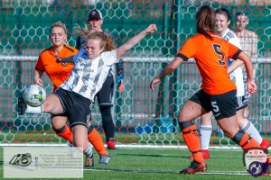 Rachael Armitt at full stretch during the Scottish Women's Premier League 2 fixture, Glasgow Girls FC Vs Dundee United FC at Petershill Park in Glasgow, Sunday 21st April 2019.